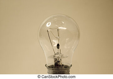 Bright Idea - A light bulb on a pale background