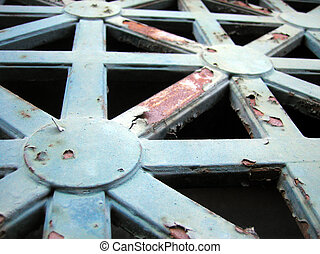 Rusting Details - A decorative security grate on the window...