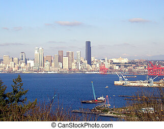 Port of Seattle - The Port of Seattle on the right, plus the...