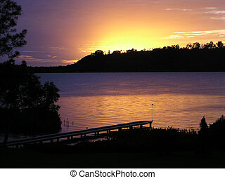 Dawn on the River - Sunrise over the McLean River, NSW,...