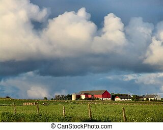 Farm - A farm w/ heavy clouds. Rogaland, Norway.