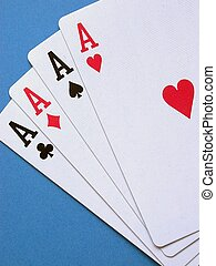 Four Aces - Four aces on a blue background