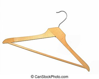 Coat Hanger - Old wooden coat hanger isolated on white.