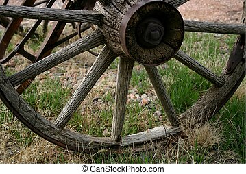 Wheel 3979 - These old oak wagon wheels brought pioneers out...