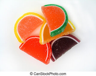 Fruit Slices - Overhead shot of a bunch of sugary candy...