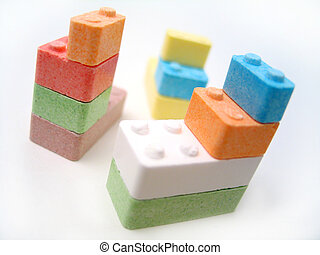 Candy Blocks II - Colored candy blocks scattered on white...