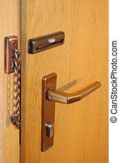yellow door - closed yellow wooden door with chain