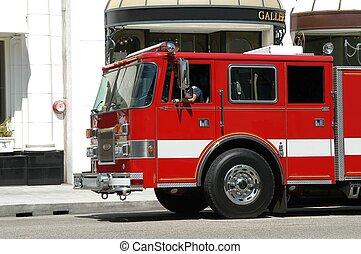 Fire truck - Fire department truck in Beverly Hills, L.A.,...