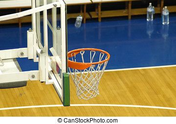 Basketball - Close-up on a basket in a pro-court