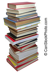 Books - Book stack on a white background