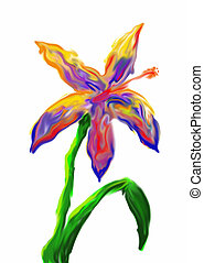 Dreamscape Lily - A drawing of a garden lily in colors a...