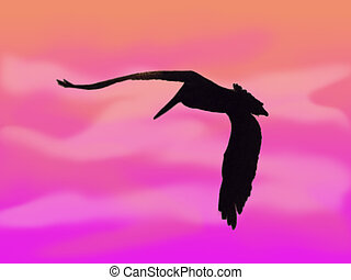 Pelican Silhouette - Drawn silhouette of a pelican in flight...