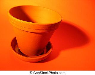 Flower Pot 3 - An orange clay flower pot with deep shadows...