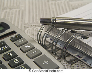 Business 3 - Photo of Pen, Calculator, Notepad and Newspaper