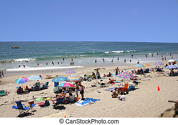 Crowded Beach - A southern california beach filled with...