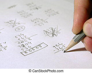 Maths - Calculations. Focus on pencil.