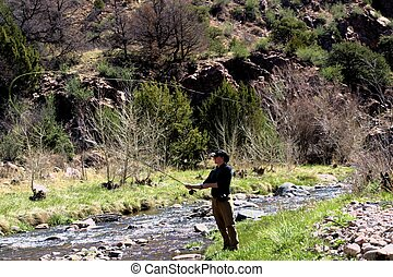 Flyfishing 4506 - Fisherman casting out on Grape Creek, a...