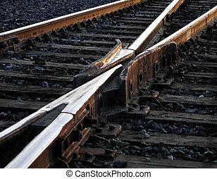 Diverging Route - A railroad switch at sunset