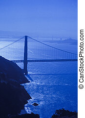 Goldengate Bridge with blue filter