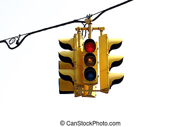 Traffic Light - Photo of a Traffic Light Isolated on WHite...