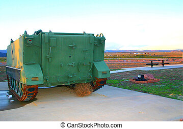 Tank & Tumbleweed - Tank at War Memorial in Fremont County,...