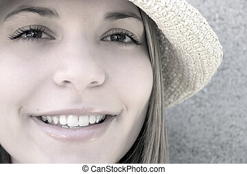 微笑, 女