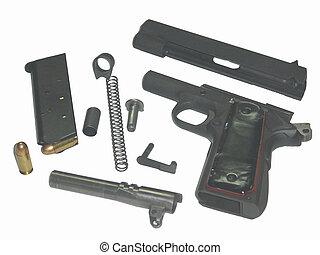 45 Cal. Breakdown - A semi-automatic pistol in the breakdown...
