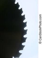 Saw blade 1 - A close up of part of the cirumference of a...