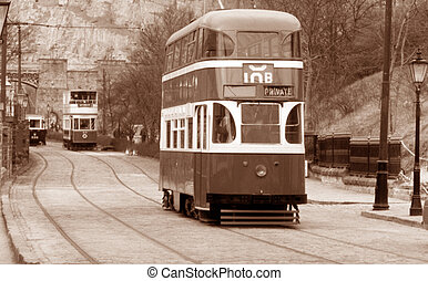 English Tram bus - Old english tram with sepia effect