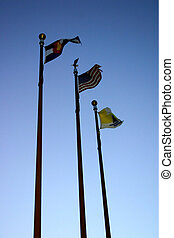 Flags 4663 - flags flying at the Fremont County airport.