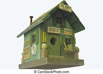 Dental Bird House - A cute bird house made to resemble a...