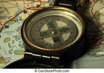 Compass and Map - Photo of Compass and Map With Blur and...