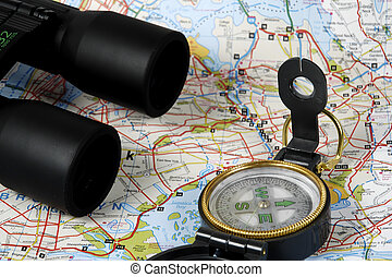 Hiking Items - Photo of Compass, Map and Binoculars