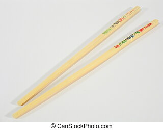 Asian Chopsticks - Asian chopsticks with colorful characters...