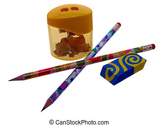 Pencil & Sharpner - Colorful pencils, yellow sharpner and...