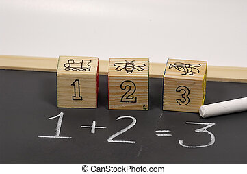Addition - Photo of Chalkboard with Number Blocks