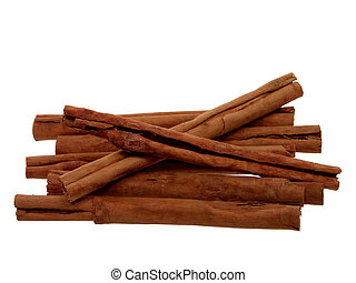 Cinnamon Sticks - Pile of cinnamon sticks shot on white