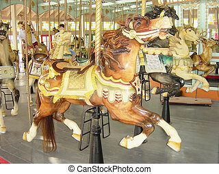Old Carousel - A circa 1920's carousel still giving the...