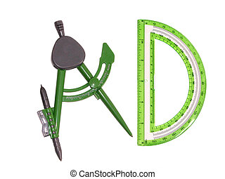 Compass and Protracto - Back To School: Green Grey Plastic...