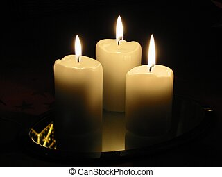 3 candles - Low light photo of 3 burning candles