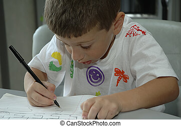 Child Writing - Photo of CHild Writing In Book