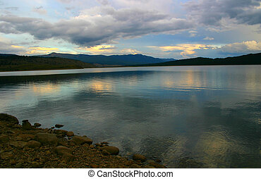 A New Day 1893 - Dawn over Twin Lakes in Colorado.