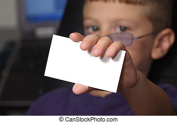 My Card - Photo of Toddler Holding Up Blank Business Card....