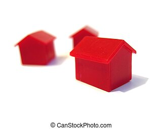 Tiny red houses - Tiny red plastic houses