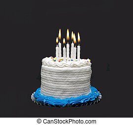 happy birthday - birthday cake with lit candles, white icing...