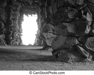 Grotto (Black & Whi - Grotto made of natrual stones in Black...