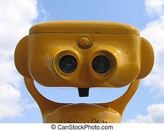 Yellow Binocular II - Public yellow binoculars against the...