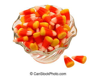 Candy Corn - Glass bowl of candy corn shot on white. Not an...