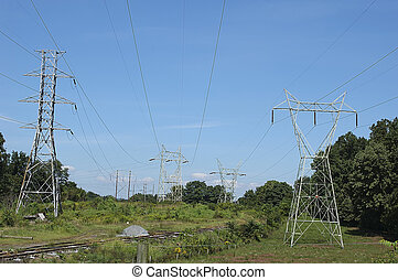 Powerlines - Photo of Powerlines and Railroad Tracks.