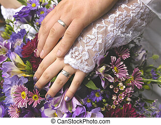 Rings - wedding rings and wedding bouquet.